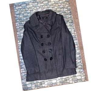 Women's Gray Pea Coat Sz XL